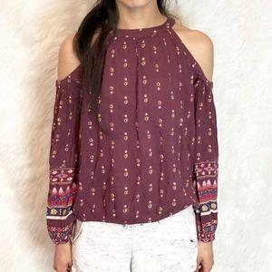 Hollister bohemian tribal cutout shoulder blouse